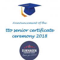 Uitnodiging voor de uitreiking van de senior tto-certificaten